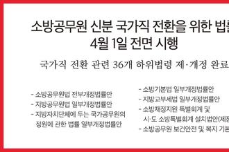 소방공무원 신분 국가직 전환을 위한 법률 4월 1일 전면 시행
