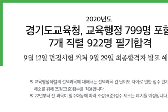 경기도교육청, 교육행정 799명 포함  7개 직렬 922명 필기합격